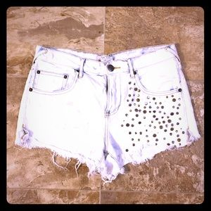• {Free People} Bleached Studded Cut Offs •